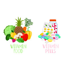 Vitamin food and pills vector