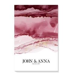 Watercolor wedding burgundy invitation abstract vector