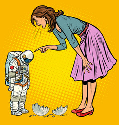 Woman scolds astronaut the guilty destroyed moon vector