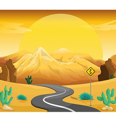 A winding road at the desert vector image vector image
