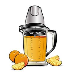 drawing color kitchen blender with orange juice vector image vector image