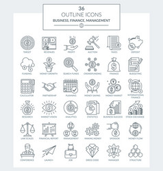outline icons of business and finance vector image
