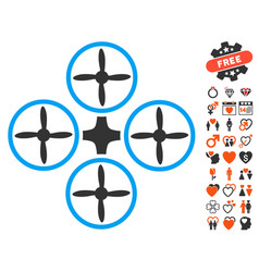 quadcopter icon with lovely bonus vector image vector image