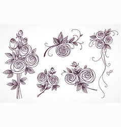 roses set collection of roses bouquets vector image vector image
