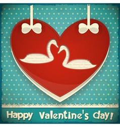 Valentines Card with Swans vector image vector image