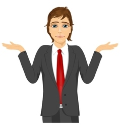business man in doubt making shrug expression vector image vector image
