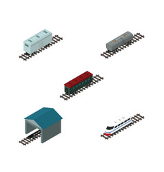 Isometric transport set of subway vehicle oil vector