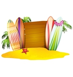 Summer Vacation Poster Surfboards Starfish vector image