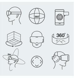 virtual reality design set vr thin line icon vector image