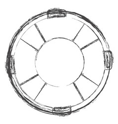 Blurred silhouette flotation hoop with rope vector