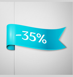 cyan ribbon with text 35 percent for discount vector image vector image