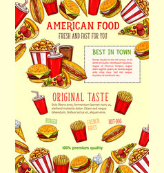 fast food sketch poster of fastfood snacks vector image