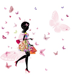 girl with a flower shop in vector image
