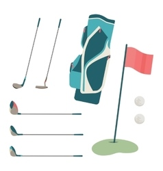 Golf club and ball in grass vector image vector image