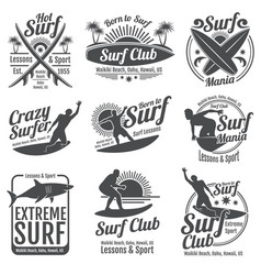 surfing club vintage emblems surf board on vector image vector image