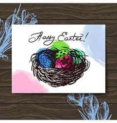 Vintage Easter greeting card hand drawn sketch vector image