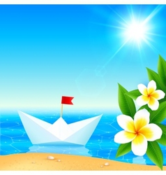 White paper boat near blooming tropical island vector image vector image
