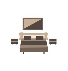 Bedroom furniture set on white background flat vector image