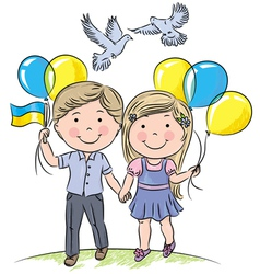 Children with balloons and flag vector image vector image