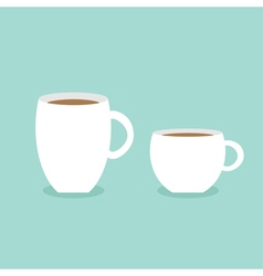 Coffee cup mug set Blue background Flat modern vector image vector image