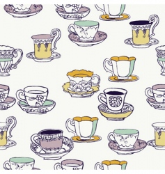 cups and saucers background vector image