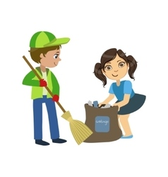 Kids With Broom And Binbag vector image