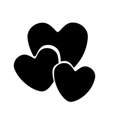 monochrome silhouette with hearts in various sizes vector image vector image