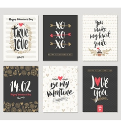 Valentines day hand drawn greeting set vector image vector image