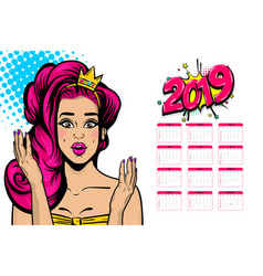 2019 calendar sexy woman pop art vector image
