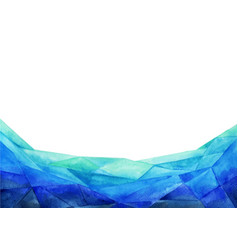 abstract triangle blue border watercolor vector image