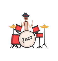 african american jazz musician playing on drums vector image