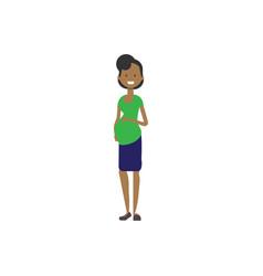 African pregnant smiling mother full length avatar vector