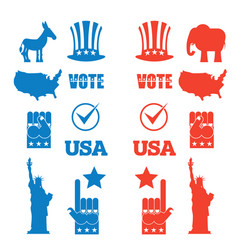 American elections icon set republican elephant vector