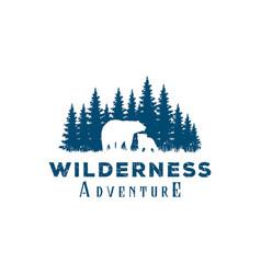 bear and pine cedar conifer wilderness adventure vector image