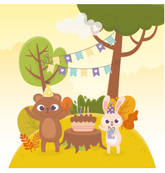 Bear and rabbit with party hats gift cake vector