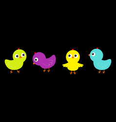 Bird icon set line colorful chicken chick cute vector