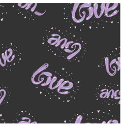 black and purple hand drawn seamless love pattern vector image