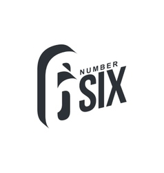 Black and white number six diagonal logo template vector image