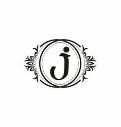 black initial j letter in vintage frame vector image