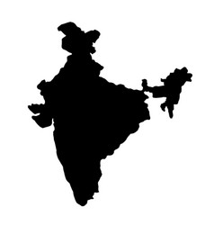 black silhouette country borders map of india on vector image