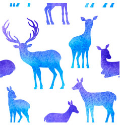 blue deer seamless pattern vector image