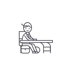 Boy at a desk line icon sign vector