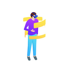 boy start chat in social media virtual reality vector image