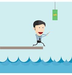 Businessman run catch flying money for risk vector