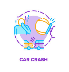 Car crash traffic accident concept color vector
