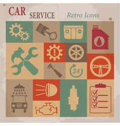 Car service maintenance flat retro icons vector
