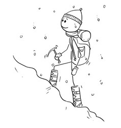 cartoon drawing of mountaineer or alpinist vector image