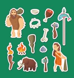 cave people elements cartoon cavemen vector image