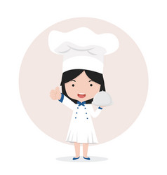 chef making thumbs up with tray vector image