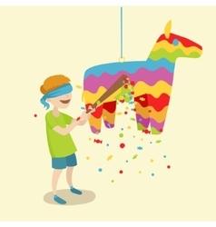 Child breaks the pinata cartoon vector